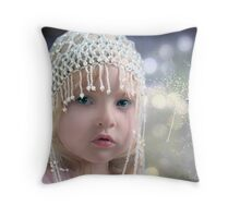 The girl with the beaded hat Throw Pillow