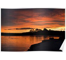 Macquarie Harbour sunset Poster