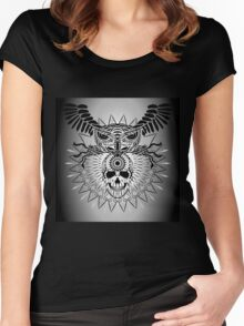Human Skull, Owl and mandala Women's Fitted Scoop T-Shirt