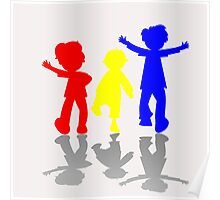 Colored kids silhouettes Poster