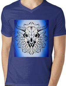 Animal Skull with horns and mandala Mens V-Neck T-Shirt