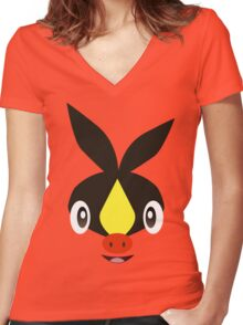 Pokemon - Tepig / Pokabu Women's Fitted V-Neck T-Shirt