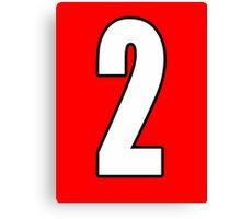 2, Two, Second, Number Two, Sport, Football, Soccer, Team, Number, Red, Devils Canvas Print