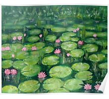 Water lilies, green Poster