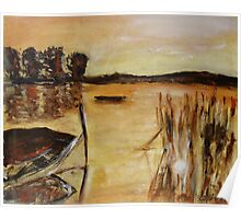 Boat and reeds Poster