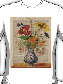 Bouquet of flowers over dictionary page T-Shirt