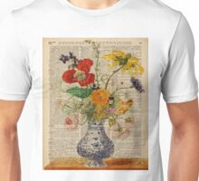 Bouquet of Colourful Meadow Flowers,Dictionary Art,Old Book Page Unisex T-Shirt