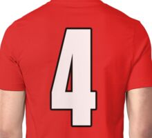 Football, Soccer, 4, Four, Fourth, Number Four, Sport, Team, Number, Red, Devils Unisex T-Shirt