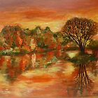 Autumn forest by the lake by olivia-art