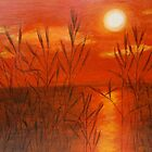 Sunset with reeds by olivia-art