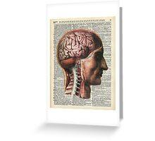 Human Brain Medical Chart Illustration,Vintage Dictionary Art  Greeting Card