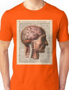 Human Brain Medical Chart Illustration,Vintage Dictionary Art  Unisex T-Shirt