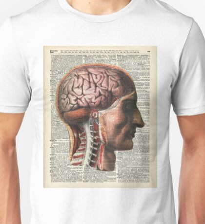 Human Brain Medical Chart Illustration,Vintage Dictionary Art  Unisex T-Shirt