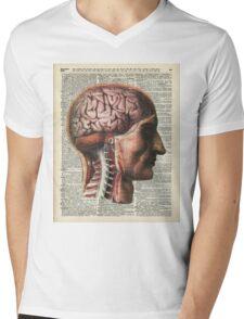 Human Brain Medical Chart Illustration,Vintage Dictionary Art  Mens V-Neck T-Shirt
