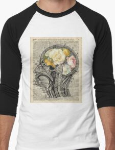 Brain full of flowers Dictionary Art Men's Baseball ¾ T-Shirt