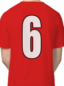 Football, Soccer, 6, Six, Sixth, Number Six, Sport, Team, Number, Red, Devils Classic T-Shirt