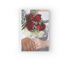 Red roses and wedding rings Hardcover Journal