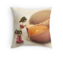 Mila and the Giant Egg Throw Pillow