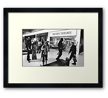 Zombie Fighters in the Mall Framed Print