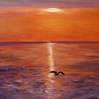 Seagull at sunset by olivia-art