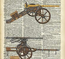 Old military cannons over dictionary book page by DictionaryArt