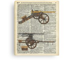 Old military cannons over dictionary book page Canvas Print