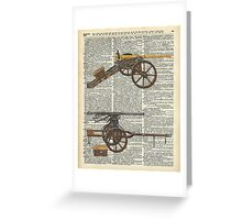 Vintage Military Cannons over Old Dictionary Book Page Greeting Card