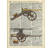 Old military cannons over dictionary book page Photographic Print