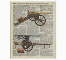 Old military cannons over dictionary book page One Piece - Long Sleeve