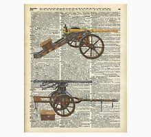 Old military cannons over dictionary book page Unisex T-Shirt
