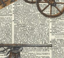 Old military cannons over dictionary book page Sticker