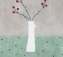 White Jug with Red Berries by Jude Allman