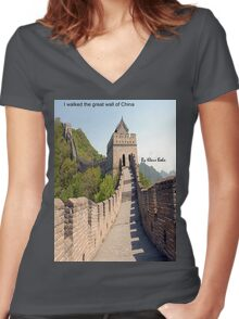 I walked the great wall of China Women's Fitted V-Neck T-Shirt