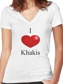 I Heart Khakis - No Jake Sticker Women's Fitted V-Neck T-Shirt