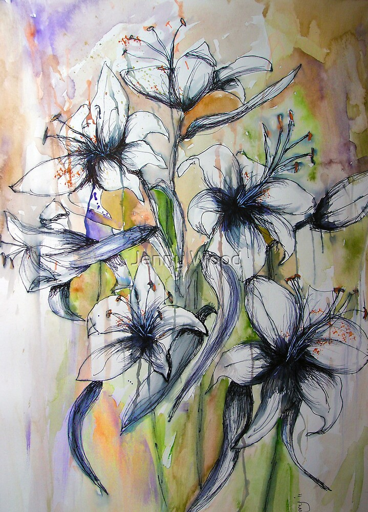 White lilies by Jenny Wood