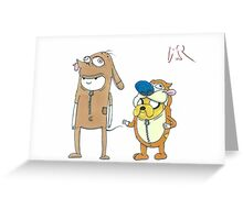 Finn and Jake Ren and Stimpy by WRTSTIK Greeting Card