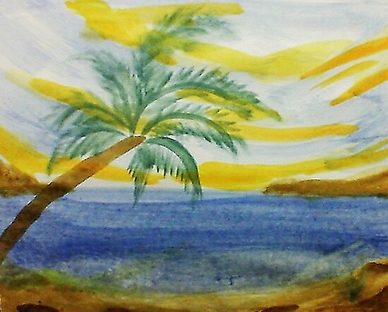 The  Cove, with palm tree in abstract for Series,#2, watercolor by Anna  Lewis, blind artist