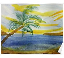 The  Cove, with palm tree in abstract for Series,#2, watercolor Poster