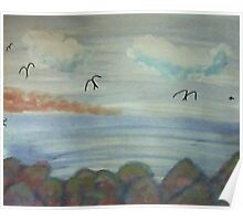 The Cove with Bird Rocks for Series #3, watercolor Poster