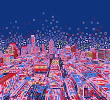 Austin texas skyline abstract 2 by BekimART