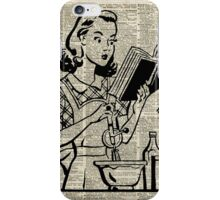 Cooking Girl over Old  Book Page iPhone Case/Skin