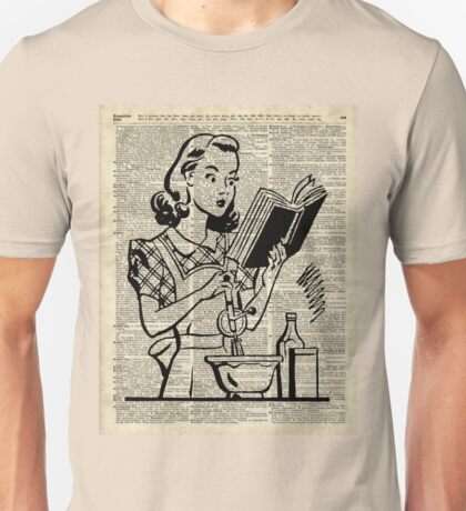 Cooking Girl over Old  Book Page Unisex T-Shirt