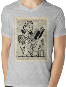Cooking Girl over Old  Book Page Mens V-Neck T-Shirt