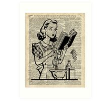 Cooking Girl over Old  Book Page Art Print