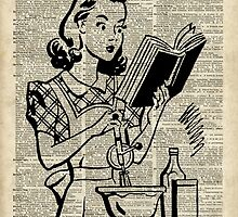 Cooking Girl over Old  Book Page by DictionaryArt