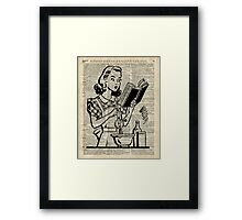 Cooking Girl over Old  Book Page Framed Print