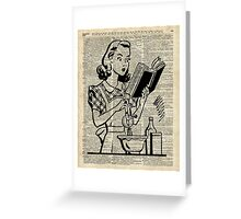 Cooking Girl over Old  Book Page Greeting Card