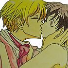 Tamaki and Haruhi Kiss- Ouran High School by merelyAdreamer
