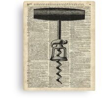 Vintage Corkscrew  Over Old Encyclopedia Page Canvas Print