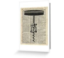 Vintage Corkscrew  Over Old Encyclopedia Page Greeting Card